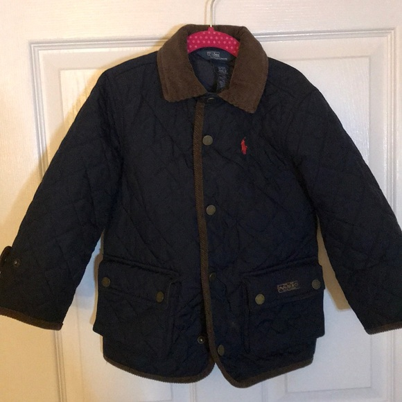 Kids Quilted Barn Coat RALPH LAUREN POLO Girls Jacket Size 2T 3T
